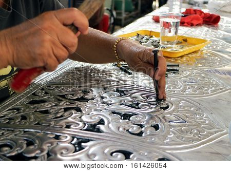 Perforated Silver Plate Handcraft Industry in Thailand