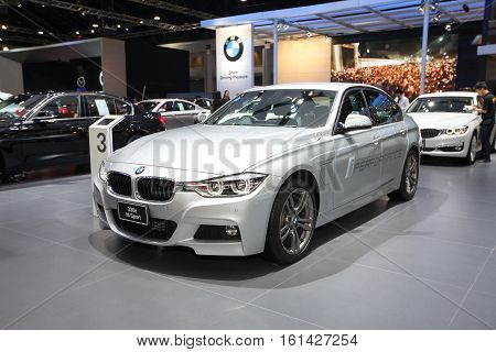 BANGKOK - November 30: BMW 330e Msport car on display at Motor Expo 2016 on November 30 2016 in Bangkok Thailand.