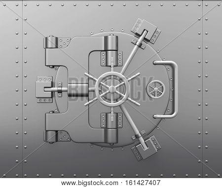 Close Bank Vault Door . 3D rendering