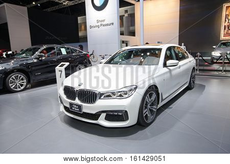 BANGKOK - November 30: BMW 730Ld Active M sport car on display at Motor Expo 2016 on November 30 2016 in Bangkok Thailand.