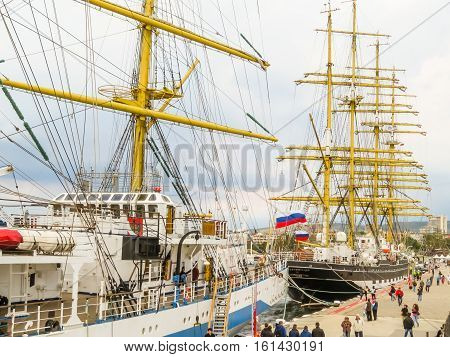 VARNA, BULGARIA - OCTOBER 04, 2016: Black Sea Tall Ships Regata 2016. Sailing ships mooring in the Sea Port Varna, Bulgaria