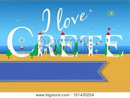 I love Crete. Travel card. White buildings on the summer beach. Blue banner for custom text. Plane in the sky.