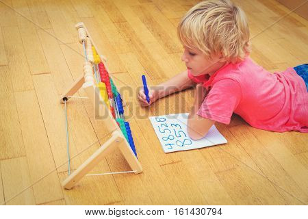 little boy learning numbers at home, kids learning