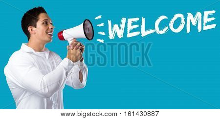 Welcome Refugees Refugee Customer Customers Immigrants Young Man Megaphone
