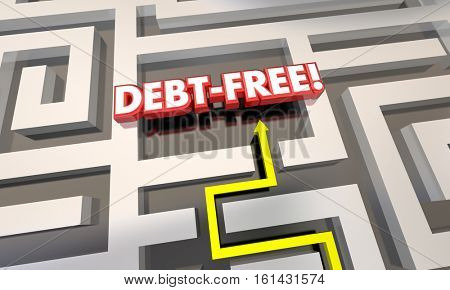 Debt Free Maze Budget Pay Off Credit Cards 3d Illustration