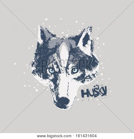 Picture dog muzzle made by hand and converted into vector.