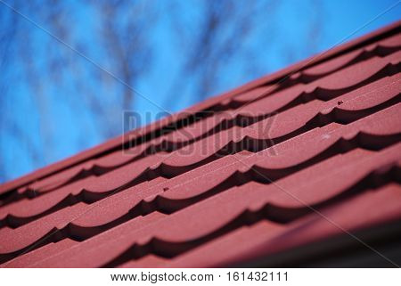 Interesting vewing angle on metal roof tile covering
