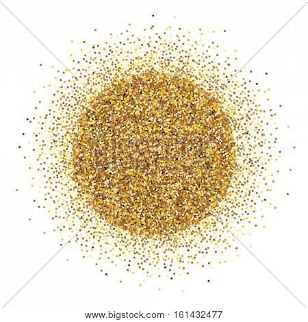 Round pile of gold tinsel on white background. Vector illustration.