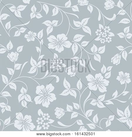 Seamless grey and white flower vector background. Winter colored pattern for gift wrapping paper.