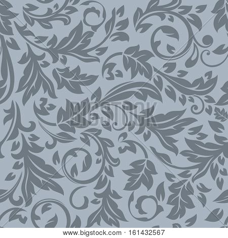 Seamless dark grey floral vector pattern. Wrapping paper, wallpaper, upholstery print template.