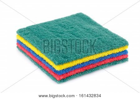 Four pan scourers isolated on white background.