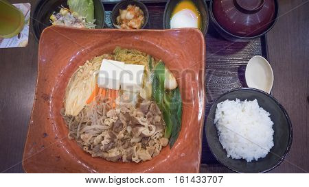 Japanese food sukiyaki beef  in hotpot on table