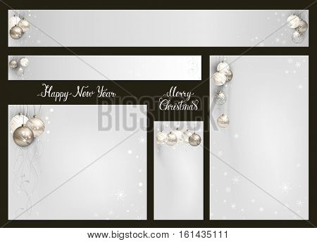 Merry Christmas and Happy New Year decorative baubles on the elegant backgrounds. Headers with place for message. Vector holiday standard size 5 Web Banners Set.