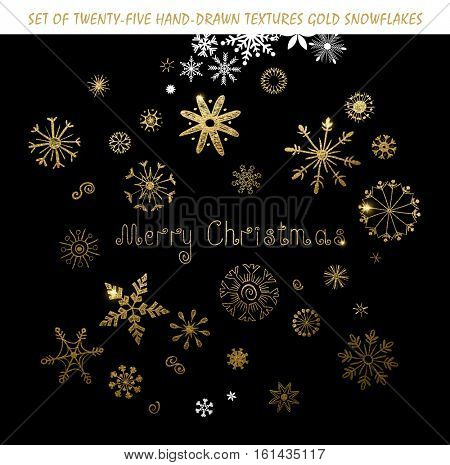 Set of twenty-five festive hand-drawn gold texture snowflakes and holiday inscription Merry Christmas.