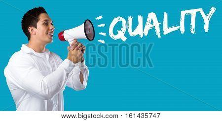 Quality Control Management Success Business Concept Successful Young Man Megaphone