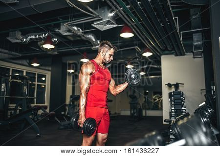 Determined bodybuilder lifting heavy black dumbbells at the gym.