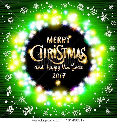 Merry Christmas And Happy New Year 2017 Realistic Ultra Green Colorful Light Garlands Like Round Fra