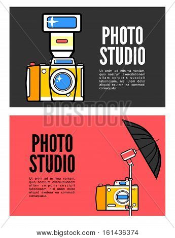 Photography banner set with photo elements isolated vector illustration
