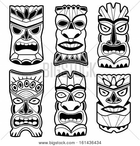 Hawaiian tiki god statue black and white masks.