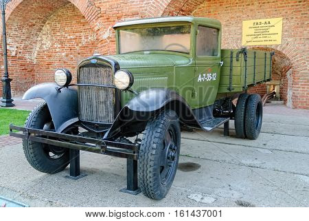 Nizhniy Novgorod, Russia - September 2, 2009: Soviet truck GAZ-AA of times of World War II. exhibition of military equipment in the Nizhny Novgorod Kremlin