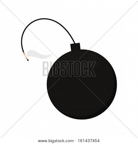Black bomb with a wick on white background