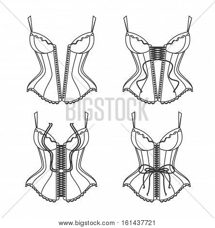 Corset Lacing Thin Line Set Pixel Perfect Art. Material Design. How To Lace. Step by Step Vector illustration