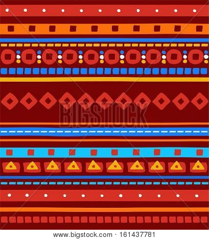 Folk ornament, seamless background, red, stripes, vector. Blue, red and yellow stripes, circles, squares and triangles on a dark red background. Ethnic pattern. Vector colored background.
