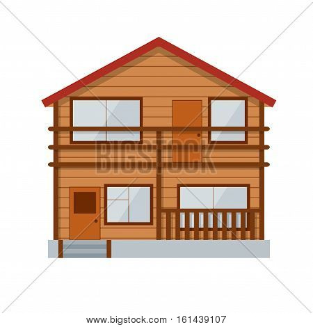 Wooden Country House or Cottage Facade Of Traditional Architectural Style. Vector illustration