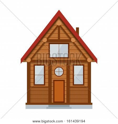 Wooden Country House. Private Hut for a Rest Rural Vector illustration