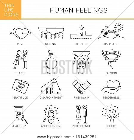 Thin line icons set, vector illustration. Human feelings and emotions, couple relationships. Strong metaphors, isolated symbols. Black on white pictograms. Simple mono linear design.