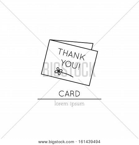 Vector thin line icon, thank you card. Metaphor of thankfulness and gratitude. Logo template illustration. Black on white isolated symbol. Simple mono linear modern design.