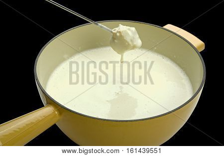Cheese Fondue On Black Background (clipping Path)