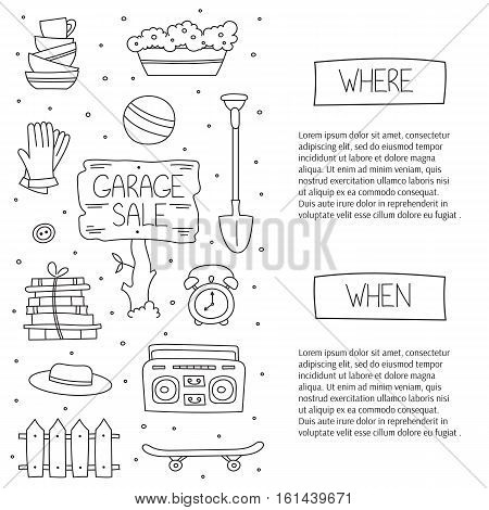 Garage sale, household used goods. Vector square banner template. For posters, cards, brochures and invitations, flyers and website designs. Hand drawn black on white thin line elements.