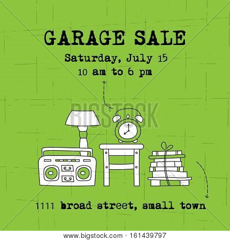 Garage sale, household used goods. Vector square banner template. For posters, cards, brochures and invitations, flyers and website designs. Hand drawn thin line elements.