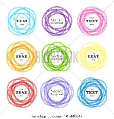 Rounded shapes labels. Vector colored overlapping rounds icons with text. Overlapping color circle illustration