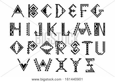 Ethnic font. Native american indian alphabet vector set. Alphabet traditional african or mexican illustration