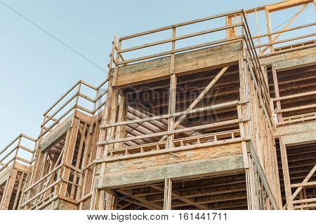 Wood Construction Resistant earthquake structure. Engineering concept