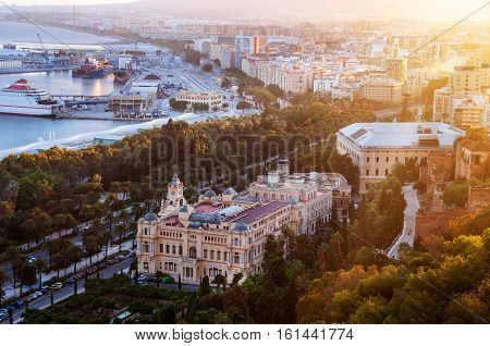 Malaga Spain. Aerial view of City Hall and gardens in Malaga Andalusia Spain at sunset