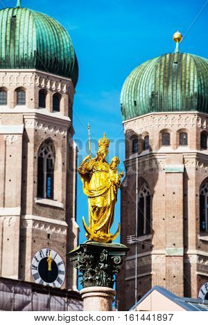 Munich Germany. Mary's Column with the Church of Our Lady in Munich the capital of Bavaria in Germany