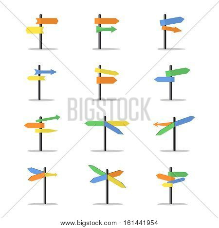 Direction signs. Vector road direction signs with empty boards. Colored arrows indicate direction illustration