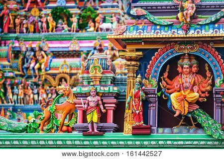 Chennai India. Close view of religious figures of famous Arulmigu Kapaleeswarar Temple in Chennai the capital of Tamil Nadu India