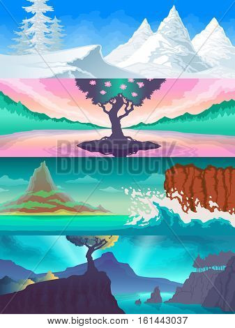 Color set of illustrations of the seasons. Landscapes nature views. Snowy mountains, rocks in the sea, flowering tree, autumn rainy landscape.