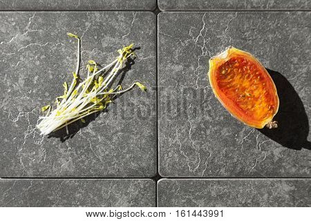 Prickly pear and soybean germs, closeup on gray tiles