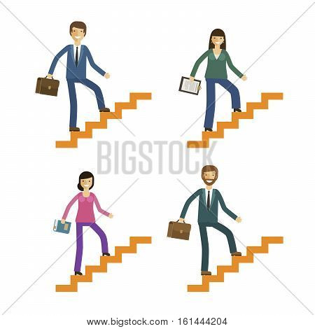 Business and education icons set. Development or motivation concept. Vector illustration isolated on white background