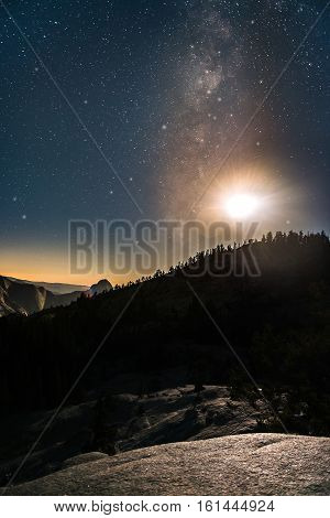 Milky Way And Raising Moon Over