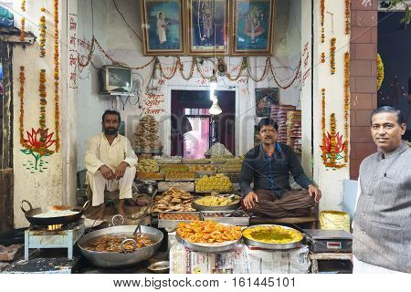 India, Govardhan, November -06-2016:Street Food Vendors cooking and selling food stuff.