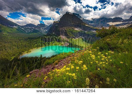 Landscape view of Grinnell Lake from overlook Glacier National Park Montana USA