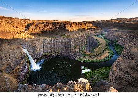 Palouse Falls during sunset in Washington USA