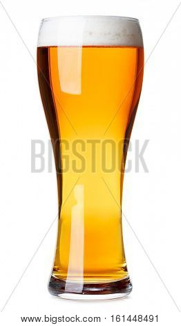 Full pilsner glass of pale lager beer with a head of foam isolated on white background