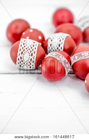 Red Easter Eggs On A White Background